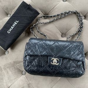Chanel Quilted Python Classic Single Flap Bag